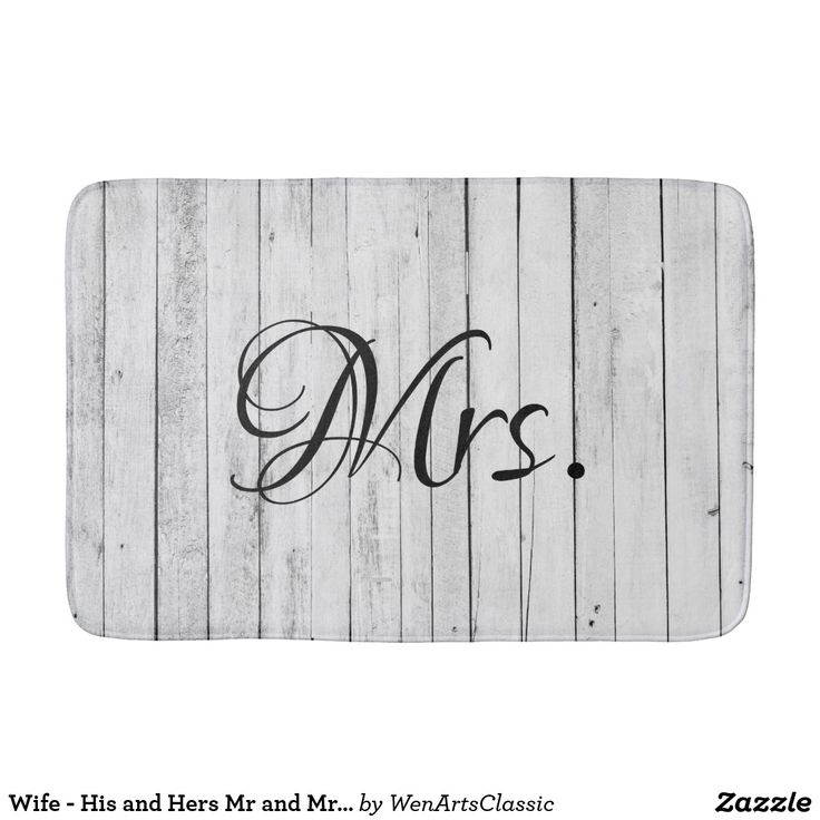Wife - His and Hers Mr and Mrs Bride Groom Rustic Bath Mat