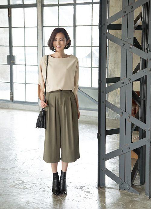 【Made in JAPAN】帯電防止タックガウチョパンツ ボトムス | おしゃれな大人レディースファッション通販STYLE DELI