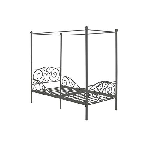 cool Girl's Grey Metal Canopy Bed Twin Sized Princess Gray Frame Vintage Antique French Country Victorian Style Kids Bedroom Furniture Mattress Mosquito Nets Curtains Bedding Pillows Blankets Not Included