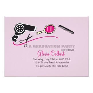 Shop for most unique Save with discounted and unique cosmetology announcements for beauty school graduation invitations with hair dresser and hair stylish wording samples and ideas.