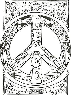 Psychedelic Paz Coloring Pages Paz y páginas para colorear de amor