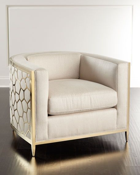 """Handcrafted chair. Hardwood frame wrapped in gold-tone metal. Micro-herringbone-patterned polyester/viscose/linen blend upholstery. 35.5""""W x 36""""D x 27.5""""T. Light assembly required. Imported. Boxed wei"""