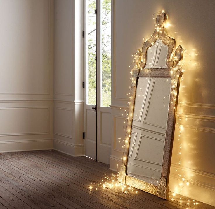 Enchanting Classic Framed Mirror With String Lights Decoration Along The Edge Of It : Enchanting Room Decor by Applying Decorative Mirror With Lights Around It