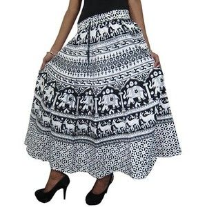 Women's Gypsy Skirt Hand Block Printed Cotton Hippy Boho Skirt, Holiday Wear
