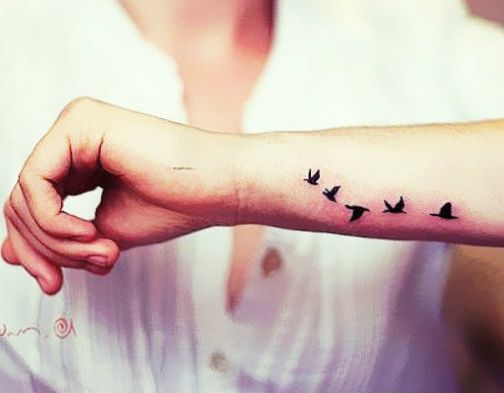 Flying Swallows Tattoo Stickers 4 Pieces