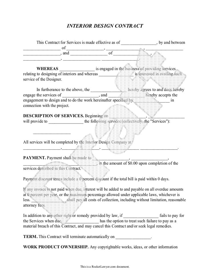 Sample Interior Design Contract Form Template