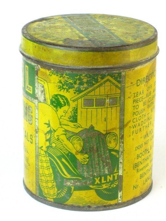 331506 Old Garage Vintage Tin - Vintage Motor Car Wax Polish Can Advert Wilpol  | eBay
