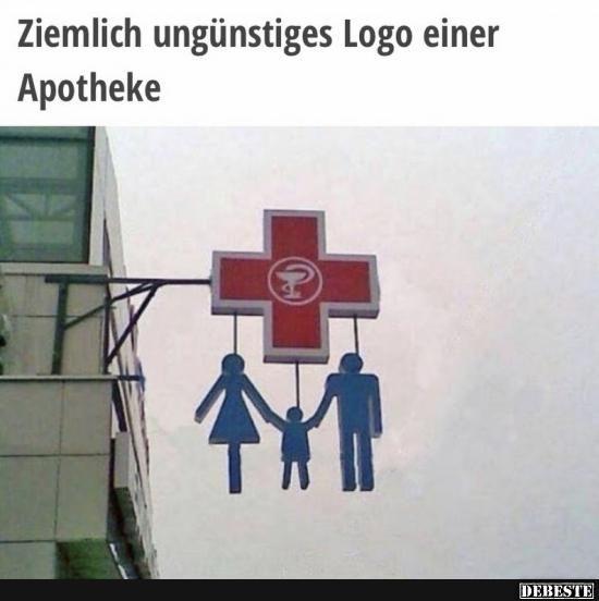 Ziemlich ungünstiges Logo einer Apotheke..