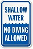 """Shallow Water No Diving Allowed - Heavy-Duty Aluminum Sign, 63 mil, 18"""" x 12"""" - Provide rules for pool safety with 'Shallow Water No Diving Allowed' swimming pool sign. Safety Pool Sign builds awareness every day, while preventing accidents. ..."""