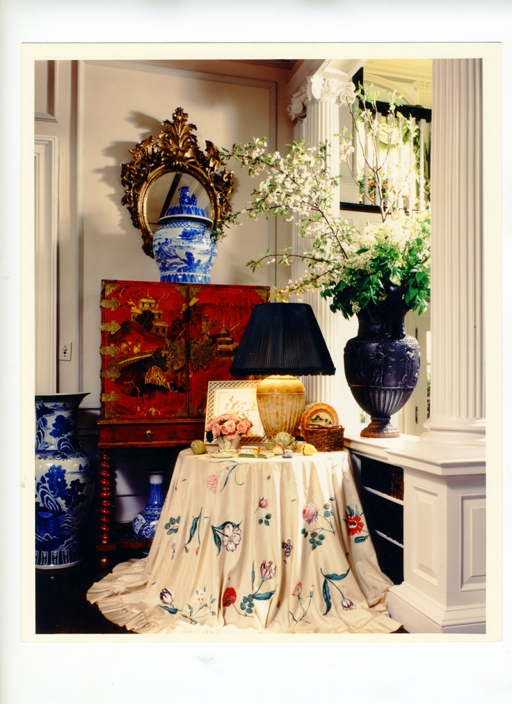 Hand Painted By Carmen Almon Table Skirt In Front Hall Vestibule Of New