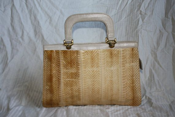 Buttercream Snakeskin Bag 70s by in2purses2010 on Etsy, $18.00