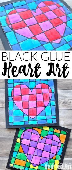 Black Glue Heart Art Project - Stained Glassed Heart Art. Beautiful art projects for kids this Valentine's Day or gift.