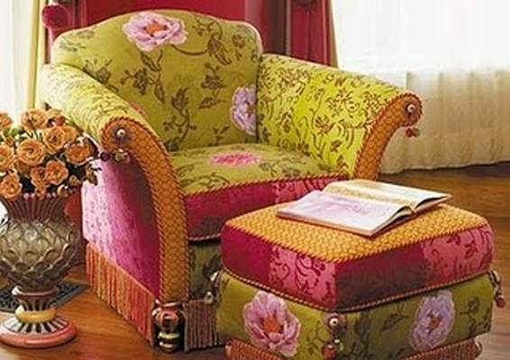 Pistachio, magenta and gold chair and ottoman.