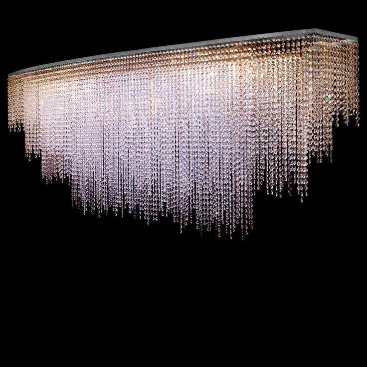 #Custom #ceiling lamp, crystal cut glass and #Swarovski fitting. #Nickel brushed finish.