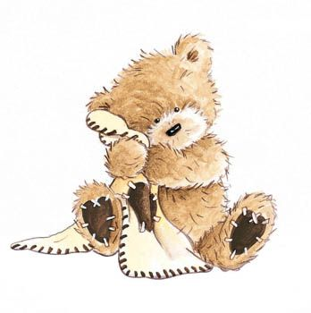 Popcorn the Bear with Comfort Blanket - sitting