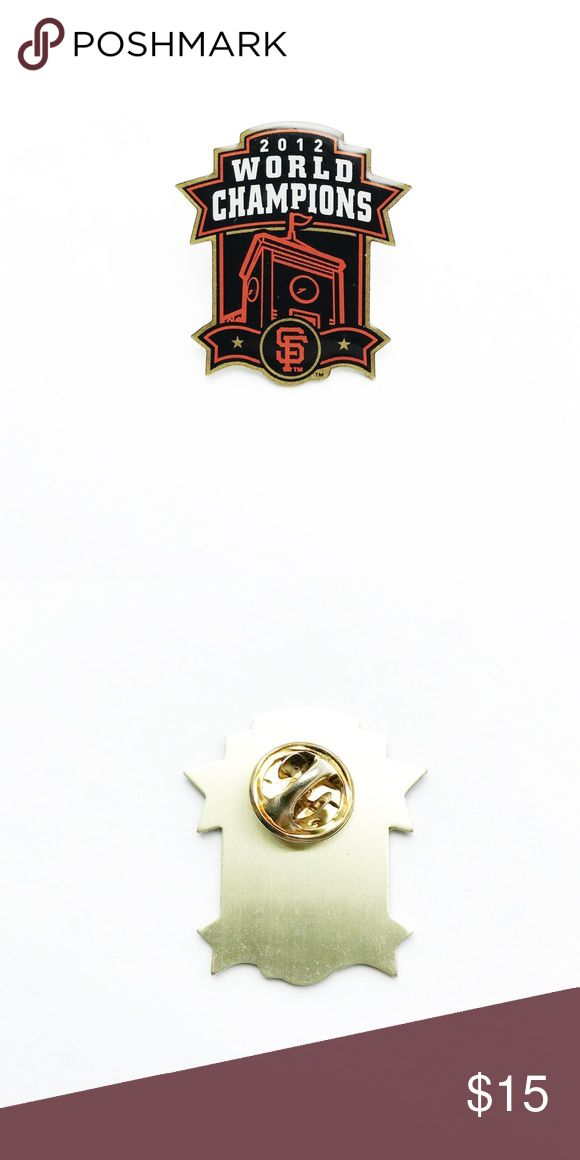 """SF Giants 2012 World Champions Pin SF Giants 2012 World Champions Pin  • true vintage • 1  1/4"""" x 1"""" • colors: white, orange, black, gold • tags: baseball, history, team, game, player, fan, stadium, pitcher, bat, ball, catcher, home run, athletics, cap, hat, lapel, jacket, vest, athletics club, San Francisco Giants, California, MLB, Major League Baseball, Golden Gate Bridge  • all of the pins I sell are vintage and may contain minor nicks, imperfections, or oxidation Vintage Accessories"""