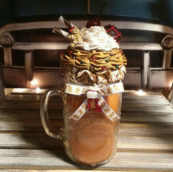 Gingerbreadman Candle Topper  #gingerbreadman #faux #sweettops #cupcake #sundae #christmas #candle #scents #masonjar
