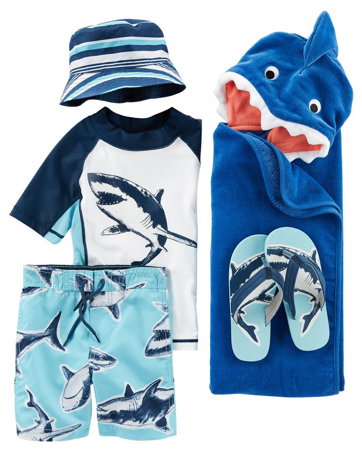 Take a bite out of summer in shark-printed swimwear. From the pool to the beach, he's covered in sunny style.