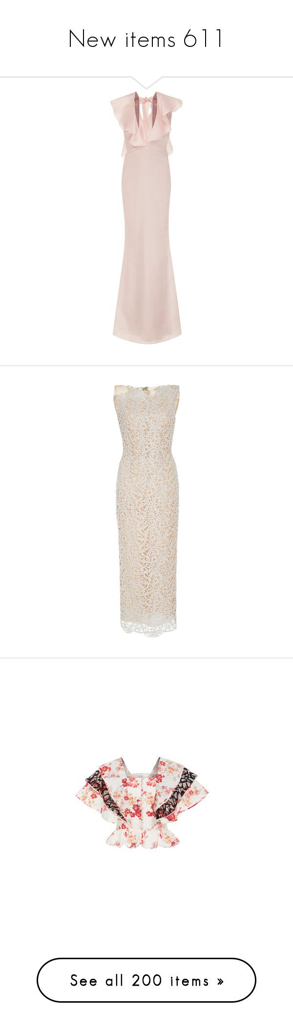 """New items 611"" by cavallaro ❤ liked on Polyvore featuring dresses, pink, v neckline dress, plunging v neck dress, pink maxi dress, pink ruffle dress, v neck maxi dress, neutral, metallic dress and long special occasion dresses"