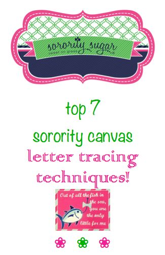 Canvases are one of the cutest things to paint for big/little gifts, dorm decor or special occasions like graduation. But lettering by hand can make the piece look sloppy. Take your pick of 7 different ways to TRACE letters from your favorite computer fonts onto your canvas, for a clean, professional look! Take your crafts, coolers and other sorority decor to the next level. <3 BLOG LINK:  http://sororitysugar.tumblr.com/post/87521894214/top-7-sorority-canvas-craft-letter-tracing#notes