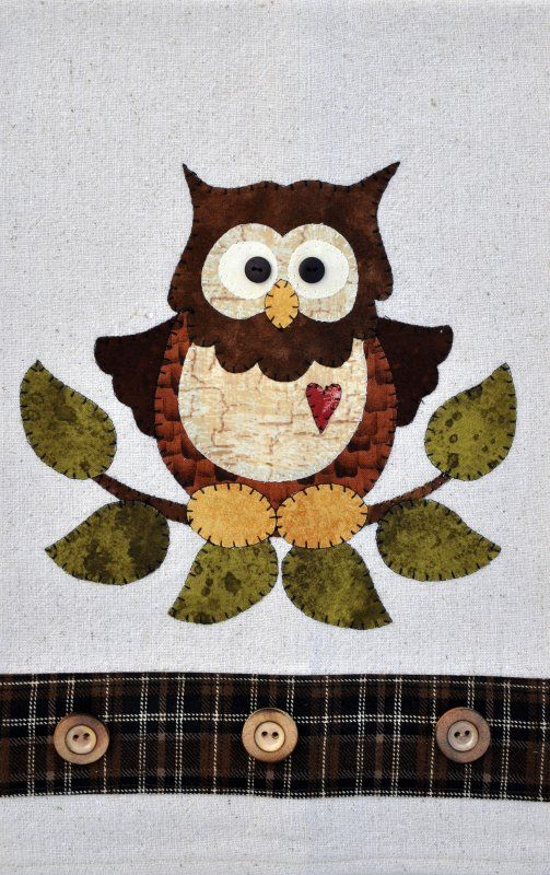 Little Hoot Owl Patternlet- can make on own tea towel or make your own from osnaburg fabric like the one above.