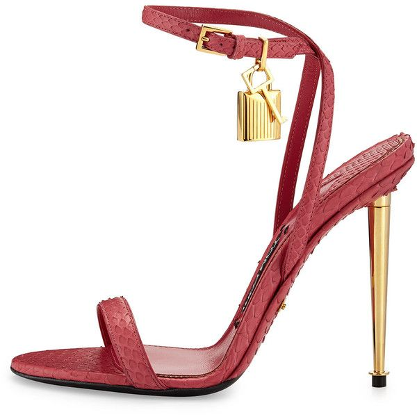 TOM FORD Lock Ankle-Wrap Python 110mm Sandal featuring polyvore, women's fashion, shoes, sandals, heels, metallic strappy sandals, metallic sandals, ankle strap sandals, ankle strap heel sandals and tom ford shoes