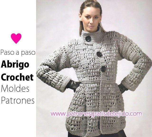 como se teje abrigo de mujer con ganchillo | Crochet y Dos Agujas ...