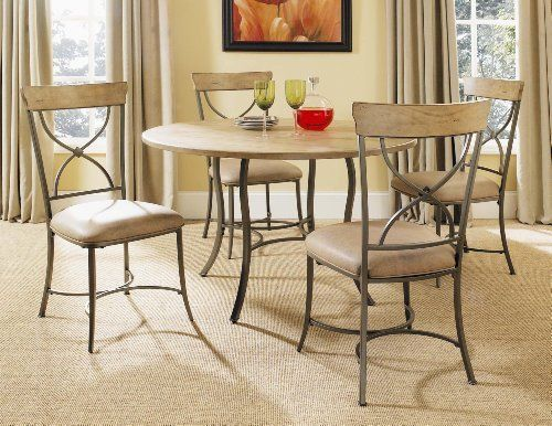 Charleston 5 Piece Round Wood Metal Dining Set With X Back Chairs By Hillsdale