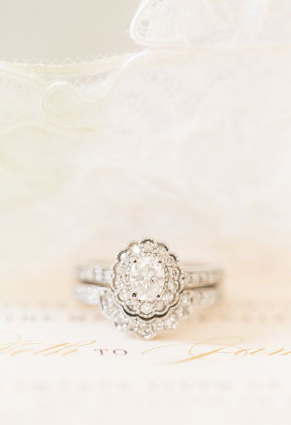Gorgeous engagement ring and wedding band.  Vintage-inspired engagement ring // Katelyn James Photography