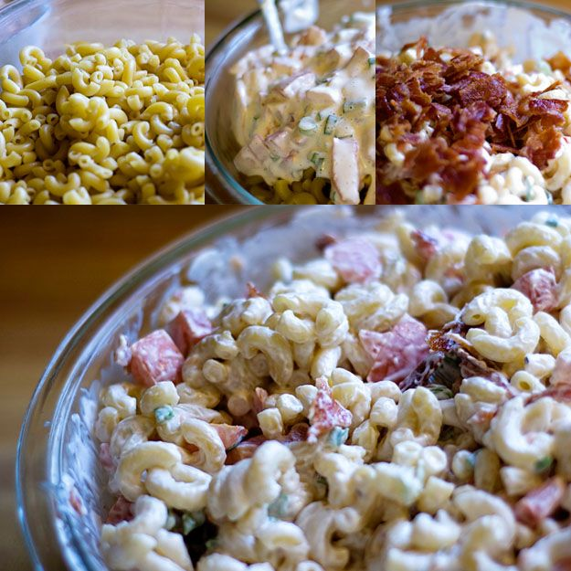 BLT Macaroni Salad- Wow this is good!! I only had apple cider vinegar and use 1/8 cup instead of 1/4 cup of white vinegar and it worked great!!    It was a hit!!!