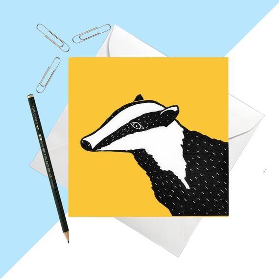 Yellow Badger Greetings Card Animal Card Blank Card Etsy Animal Cards Blank Cards Cards