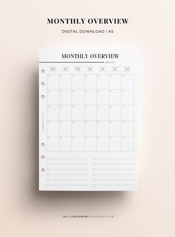 Printable A5 Monthly Overview Printable Month On A Page A5 Month
