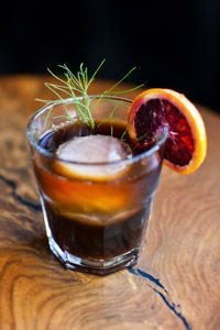 Blood Orange Infused Cold Brew Coffee   12 oz. fresh coffee, ground for French press 12 cups water 2-4 blood oranges Lg bowl and cheesecloth, sharp knife Glass: Old Fashioned Garnish: blood orange wheels   Steep coffee in water for 18 hours in tightly tied in three layers of cheesecloth in a large bowl. Thinly slice the blood oranges into wheels and add to steeped coffee. Refrigerate for 1 hour,  serve over ice garnished with additional blood orange wheels.