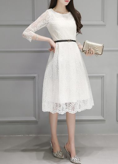 White Three Quarter Sleeve Midi Lace Dress on sale only US$25.43 now, buy cheap White Three Quarter Sleeve Midi Lace Dress at lulugal.com