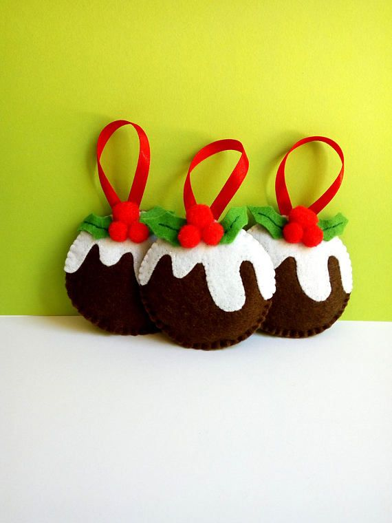 Felt Christmas pudding ornaments, ready for seasonal decoration