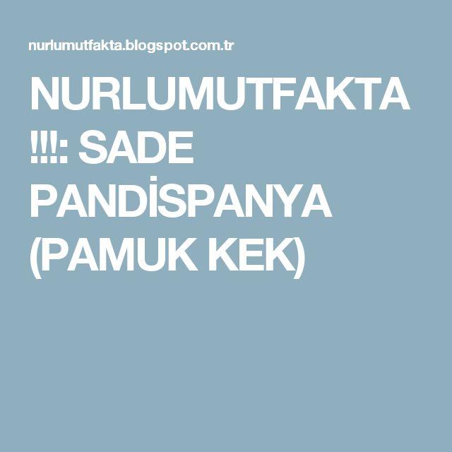 NURLUMUTFAKTA !!!: SADE PANDİSPANYA (PAMUK KEK)