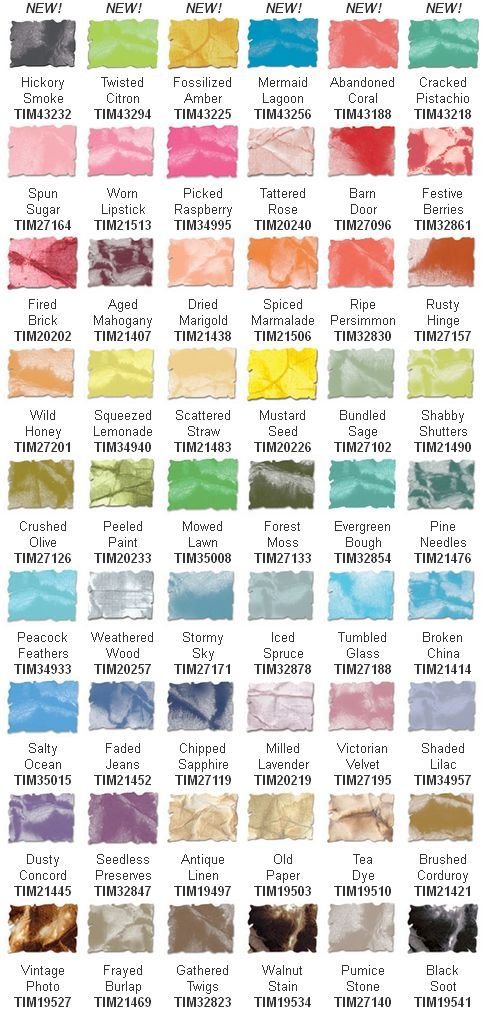 New color swatch chart for Tim Holtz Distress Inks.