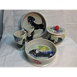 "Labrador Retriever Two 10"" Dog Bowls for Food and Water, Treat Jar and Two Mugs. Personalized at no Charge. Signed by Artist, Debby Carman."
