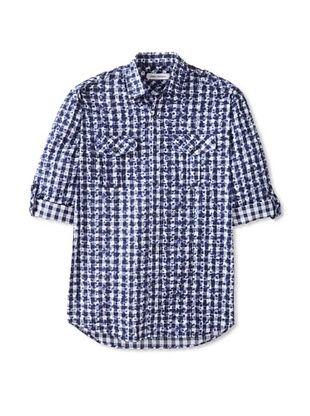 67% OFF James Campbell Men's Long Sleeve Jameson Check Shirt (Navy)