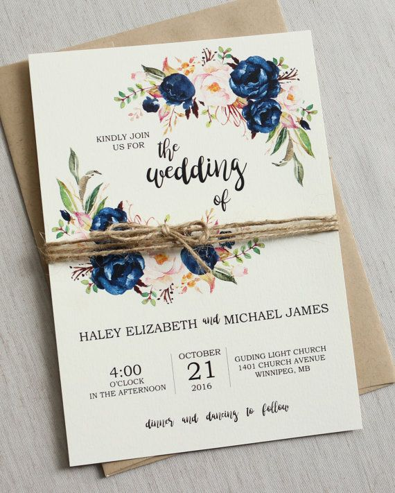 Rustic Navy Wedding Invitation Printable Modern Bohemian Wedding