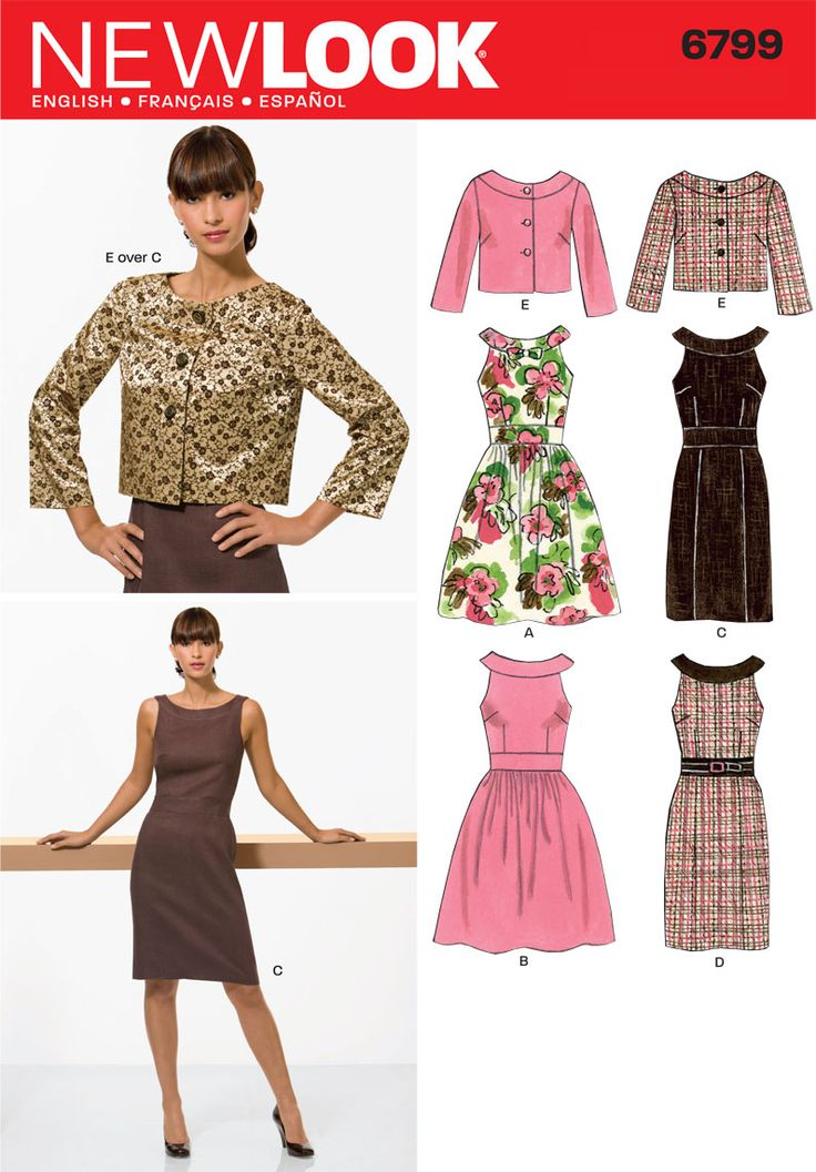 Womens Dresses and Jacket Pattern 6799 New Look Patterns: