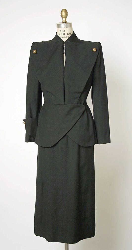 "Wool suit by Gilbert Adrian, American, 1940's. Label: ""Adrian Custom"""