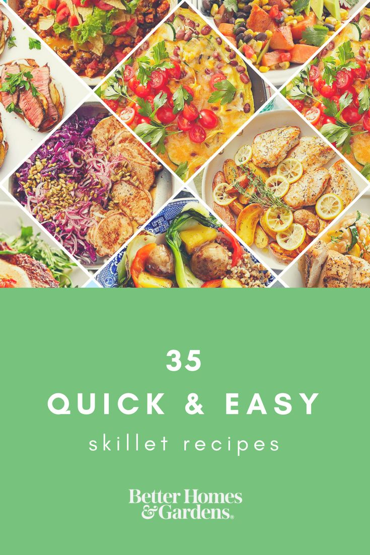 Skip the takeout on those busy evenings! Get healthy food on the table fast with these skillet meals that your family will love. Try yummy recipes for chicken, beef, stir-fries, frittatas, and more! #skilletmeals #weekdaysupper #onepotmeal #onepotdinner