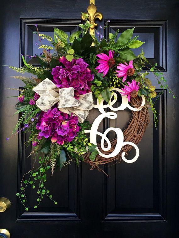 Front Door Wreaths Summer Wreaths Monogram by FleursDeLaVie