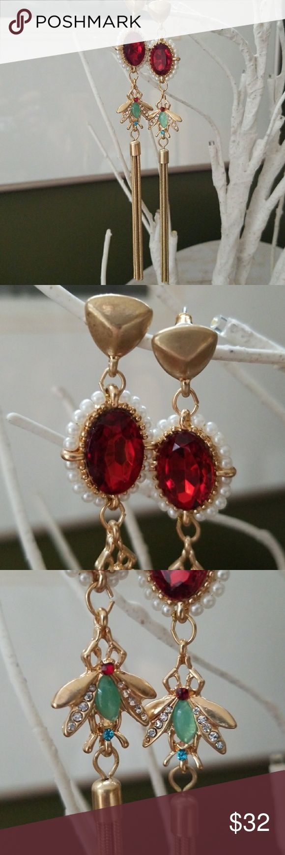 Vintage Earrings Insect Art Nouveau Victorian New Old Stock  Goldtone Pierced posts Mint condition  Crystal glass, acrylic and faux pearls Gorgeous Red Ruby Color focal stone Long shoulder duster style but very lightweight  Stunning! Get Noticed! Vintage Jewelry Earrings