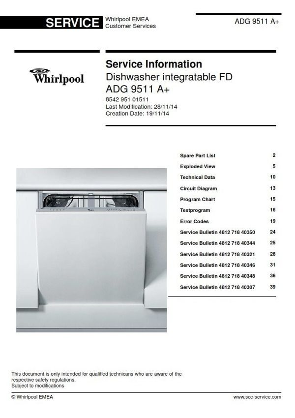Whirlpool Adg 9511 A Dishwasher Service Technician Manual Dishwasher Service Whirlpool Dishwasher