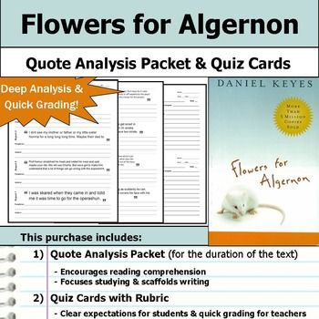 an analysis of flowers for algernon Flowers for algernon is a classic what if story keyes explores the proposition, what if an operation could increase human intelligence from the point of view of an.