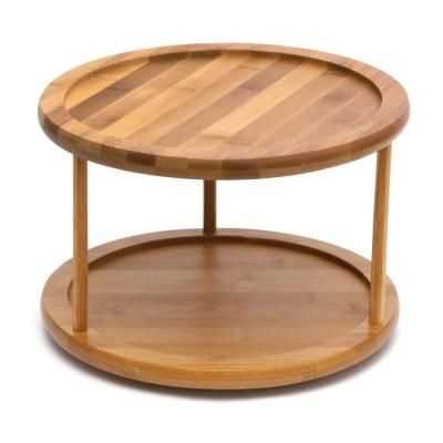 Lipper International Bamboo 10 in. 2-Tier Turntable-8302 - The Home Depot