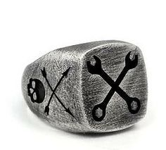 .925 Oxidized Sterling Silver Spanner Skull Ring