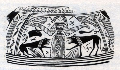Ancient image of the Dancing Bee Goddess, from The Goddesses and Gods of Old Europe by Marija Gimbutas